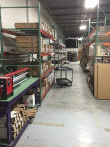 Aisle view of the new warehouse.