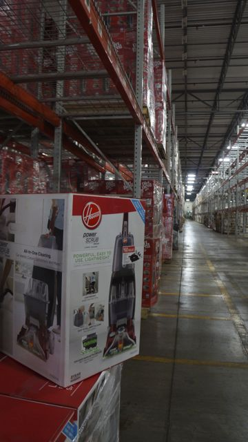 Looking Down An Aisle At TTI Floor Care In Ohio.
