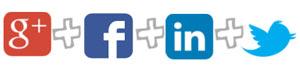 Google +, Facebook, LinkedIn, Twitter