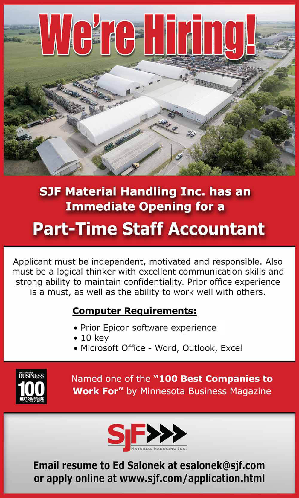 SJF is hiring a part-time staff accountant