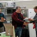 Brian Springer receives his 10 Year Service Award from Frank Sterner.