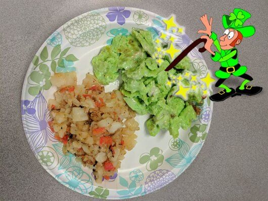 St. Patrick's Day Eggs and Hashbrowns at SJF