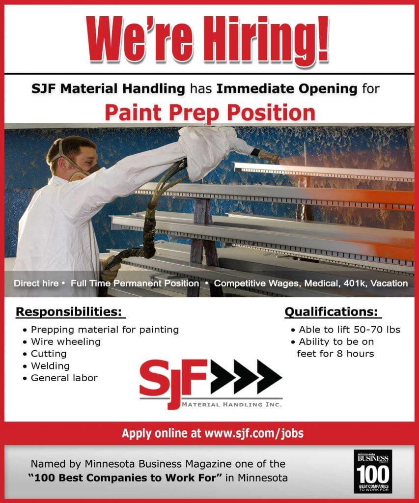 SJF is hiring Paint Preppers