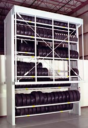 Store tires vertically with a tire carousel