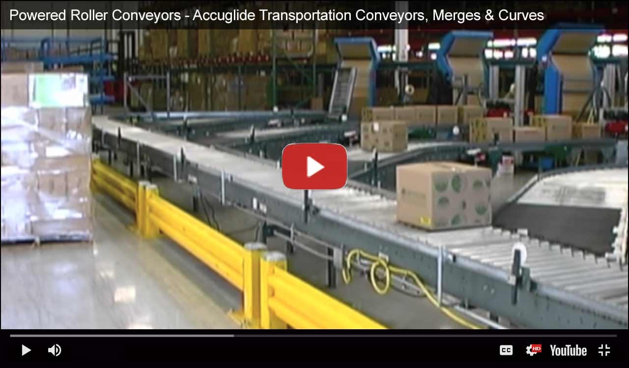 Powered Roller Conveyors - Accuglide Transportation Conveyors, Merges & Curves