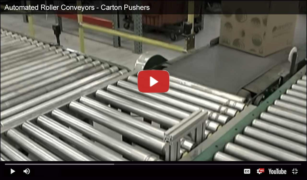 Automated Roller Conveyors - Carton Pushers Video
