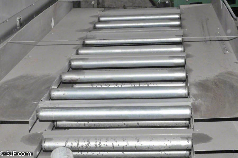 Roller Assisted Trash Conveyor - End View