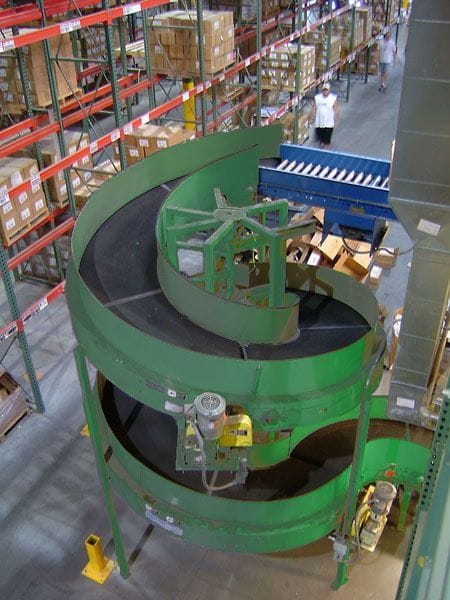 Fully Assembled Rapistan Conveyor Spiral In Operation