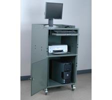 Standard Computer Cabinet w/CPU, monitor and printer