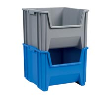 Stack and Store Totes stacked 2 high (Blue and Grey)