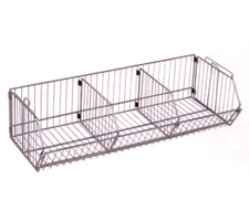 "36""W x 14""D x 9"" H wire bin with two dividers"
