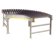A Single 90 deg. Lineshaft Conveyor Curve Unit