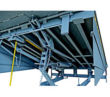 Closeup of Hold-Down System and Underside of Dock Leveler