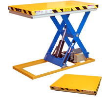 2000 pound capacity light-duty lift table - shown raised and lowered