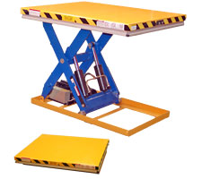 3000 pound capacity light-duty lift table - shown raised and lowered