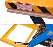 Light-duty lift table safety features - safety bar and maintenance bar