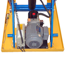 Light-duty lift table view of internal components and motor