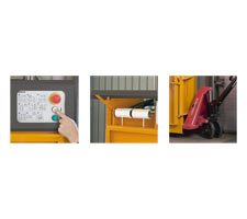 Simple Controls with Easy to Understand Pictograms, Strapping Rolls are Easy to Replace, Easy to move with a Narrow Pallet Jack.