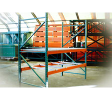 Pallet Rack Section with 2 uprights & 4 beams (wire decking & pallet suports shown for display purposes only)