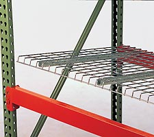 Wire decking being placed into pallet rack
