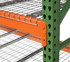 Pallet Rack Beam and Upright Closeup - shown with wire deck for visualization purposes.