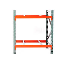 Pallet Rack Section with 4 beams and 2 uprights (also shows optional pallet supports)