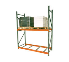 Pallet Rack section with 2 uprights and 4 beams (also shows optional pallet supports)