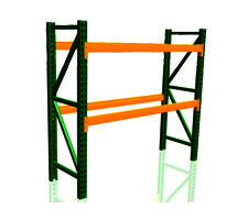 Pallet Rack Unit Shown with 2 uprights & 4 beams