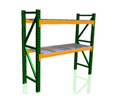 Pallet Rack Starter Unit Shown with 2 uprights, 4 beams & 4 wire decks.