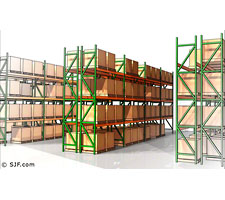 Interconnected racks can create entire pallet rack systems.