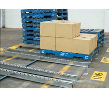 A floor mounted dual staggered steel wheel pallet flow system