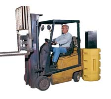 Column protector in use - guarding against a forklift