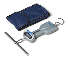 Hand Held Hanging Scale shown with carrying case and T Handle (included)