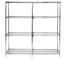 Chrome Wire Shelving Adder Unit - Side to Side Configuration