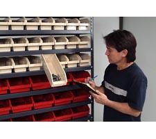 Tote Bin Shelf System in Use