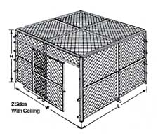 2-Sided Wire Cage with Ceiling - Line Drawing