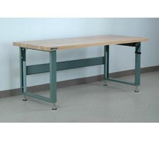 Maple Top Hand-Crank Adjustable Height Workbench