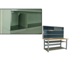Shelf Divider & Workbench with Risers, Shelf Dividers, Vanity Plates & Bottom Shelves