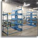 SpaceSaver Steel Roll-out Storage Racks at SJF Material Handling