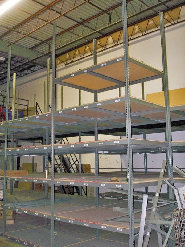 Boltless Shelving with particle board