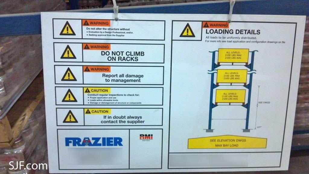 Frazier Drive-in Rack Safe Loading Information
