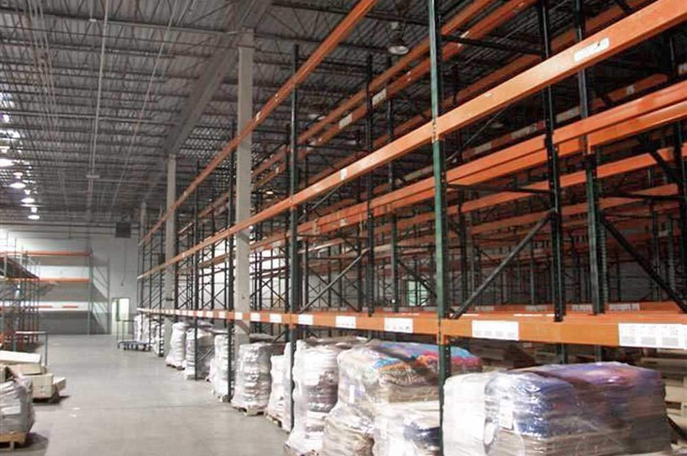 A Long row of Ridg-U-Rak Pallet Rack
