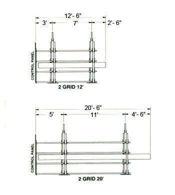 2-grid 20 foot and 2-grid 12 foot Measurements
